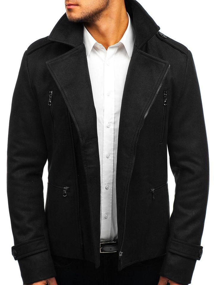 Čierny pánsky zimný kabát BOLF 3133 0f3c281764c