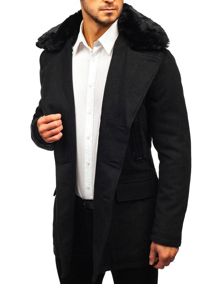 Čierny pánsky zimný kabát BOLF 88872 b80f22b11e0
