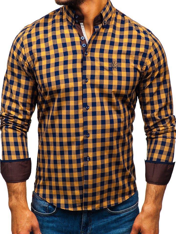 aacd31c89e Hnedá pánska károvaná košeľa s dlhými rukávmi BOLF 5816-A