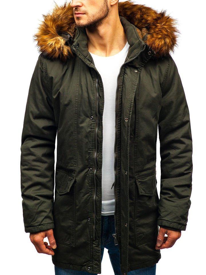 Khaki pánska zimná bunda parka BOLF R109 f04cc2bb313