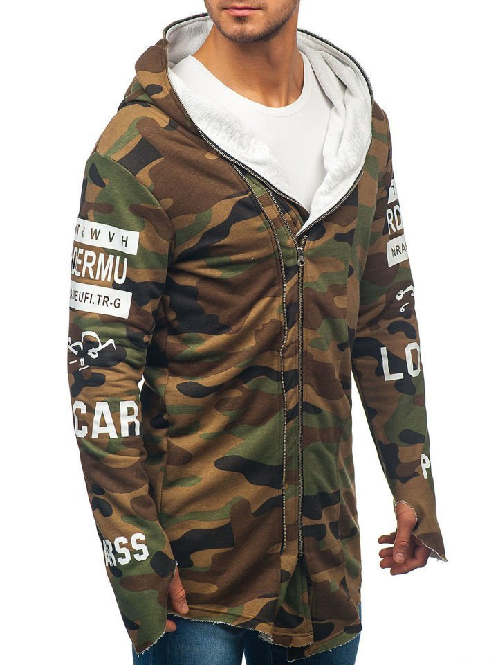 352cb3bd8e83 Maskáčovo-khaki pánska mikina s kapucňou a potlačou BOLF 0796-1