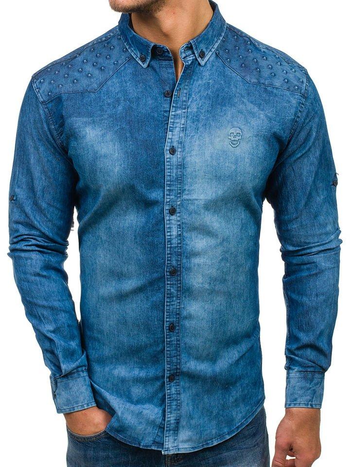 ce79a03507 Modrá pánska riflová košeľa s dlhými rukávmi BOLF 0540