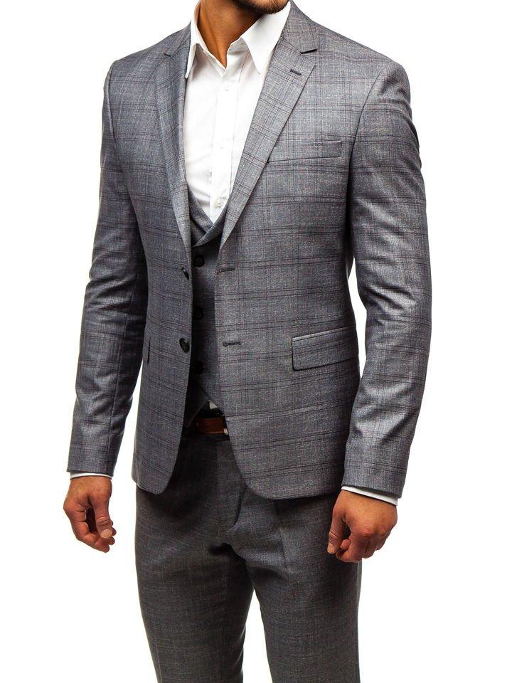 02a5083fb2ec Šedý pánsky oblek s vestou BOLF 18300