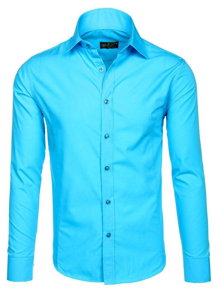 b9648d0ac0c6 Svetlomodrá pánska elegantá košeľa s dlhými rukávmi BOLF 1703