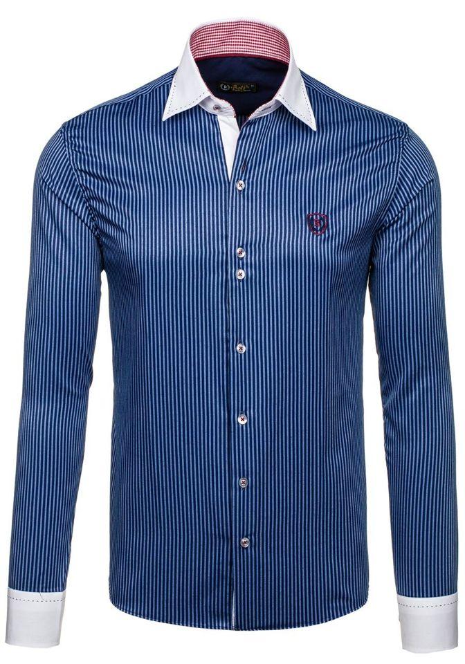 b7527c39a56b Tmavomodrá pánska elegantná pruhovaná košeľa s dlhými rukávmi BOLF 4784