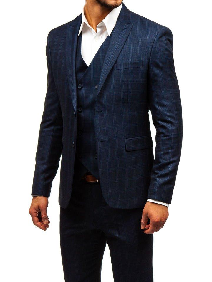 72a91dcea5aa Tmavomodrý pánsky károvaný oblek s vestou BOLF 17100
