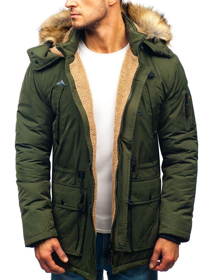 1463aed3b0d6 Zelená pánska zimná bunda parka BOLF 1071