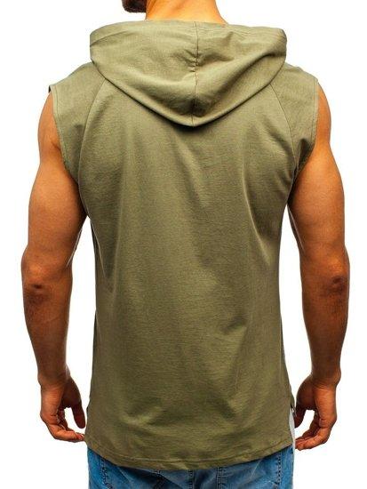 Zelené pánske tričko s potlačou a kapucňou BOLF 2859