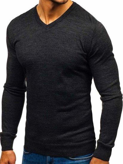 Antracitový pánsky sveter s výstrihom do V BOLF 2200