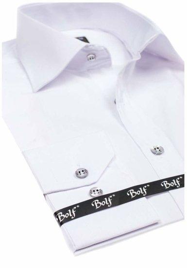 Biela pánska elegantná košeľa s dlhými rukávmi BOLF 1703