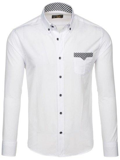Biela pánska elegantná košeľa s dlhými rukávmi BOLF 4711
