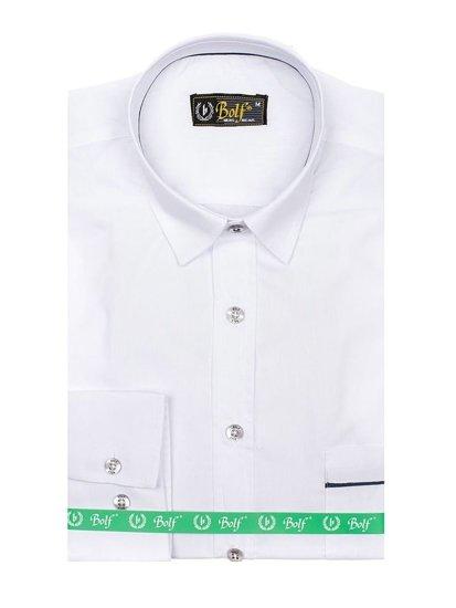 Biela pánska elegantná košeľa s dlhými rukávmi BOLF 5792