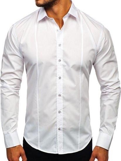 Biela pánska elegantná košeľa s dlhými rukávmi Bolf 4705G