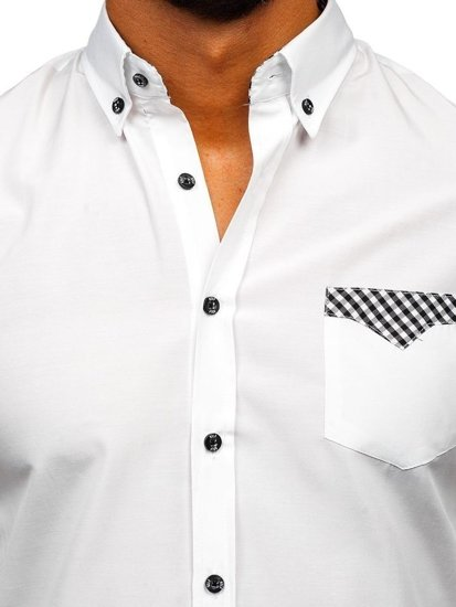 Biela pánska elegantná košeľa s dlhými rukávmi Bolf Bolf 4711