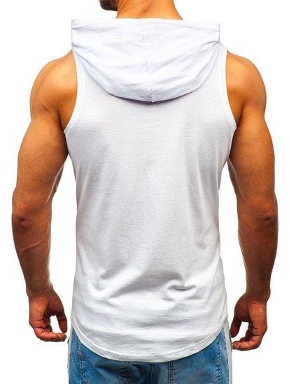 Biele pánske tričko bez rukávov s potlačou a kapucňou BOLF 1286