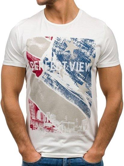 Biele pánske tričko s potlačou BOLF 7428