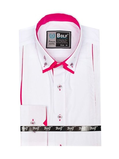 Bielo-ružová pánska elegantá košeľa s dlhými rukávmi BOLF 4744