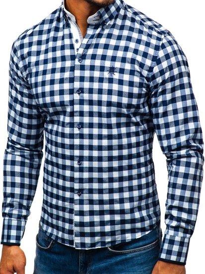 Bielo-tmavomodrá pánska károvaná košeľa s dlhými rukávmi BOLF 5816-A