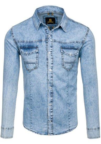 Blankytná pánska riflová košeľa s dlhými rukávmi BOLF 4416