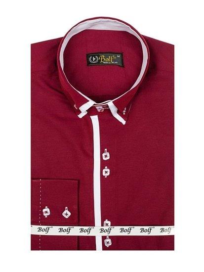 Bordová pánska elegantá košeľa s dlhými rukávmi BOLF 1721-A