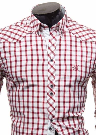 Bordová pánska elegantná kockovaná košeľa s dlhými rukávmi BOLF 5812