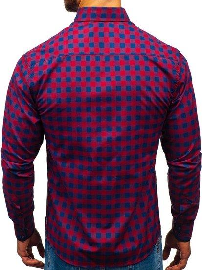 Bordová pánska károvaná košeľa s dlhými rukávmi BOLF 5816-A
