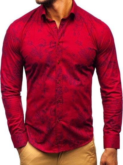 Bordová pánska vzorovaná košeľa s dlhými rukávmi BOLF 200G68