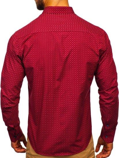 Bordová pánska vzorovaná košeľa s dlhými rukávmi Bolf 9708