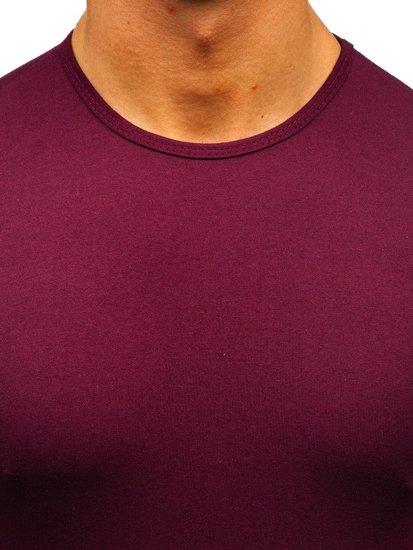 Bordové pánske tričko bez potlače BOLF 0001