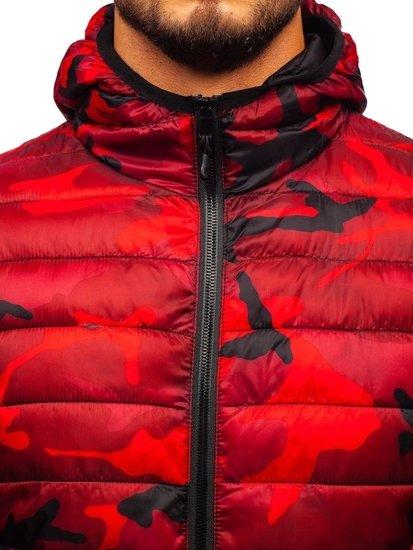 Červená maskáčová pánska športová prechodná bunda BOLF LY1001-1