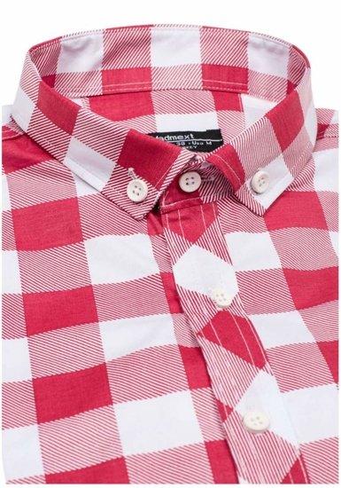 Červená pánska kockovaná košeľa s dlhými rukávmi BOLF 0773