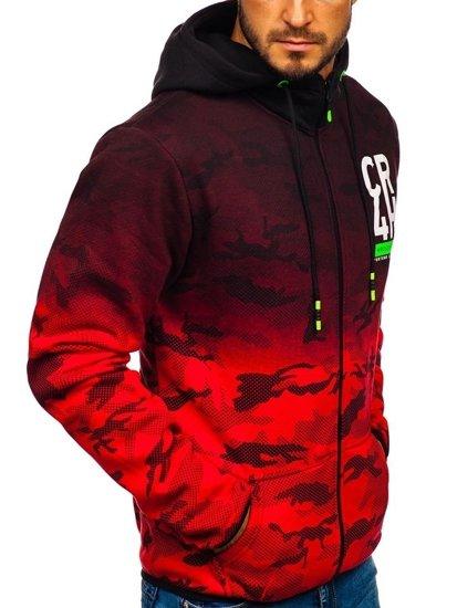 Červená pánska mikina na zips s kapucňou Bolf DD84-1