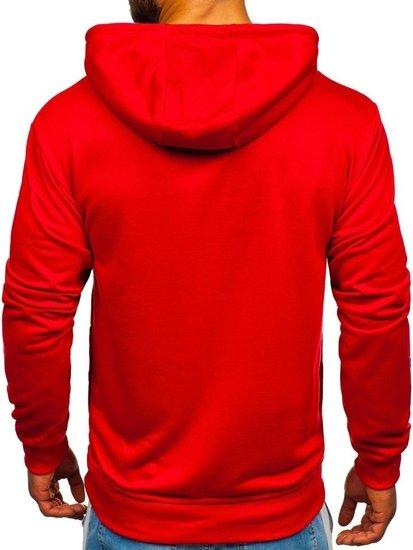 Červená pánska mikina s kapucňou a potlačou Bolf BK03