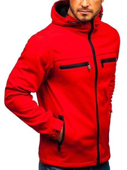 Červená pánska sofshellová bunda BOLF 56003