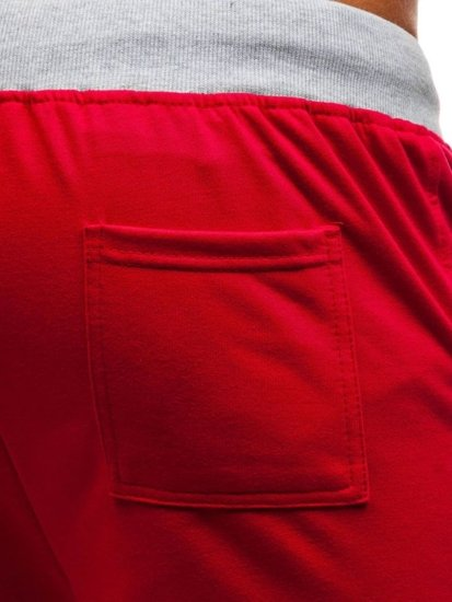 Červené pánske teplákové kraťasy BOLF EX06