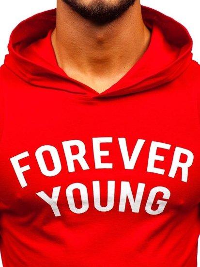 Červené pánske tričko bez rukávov s potlačou a kapucňou BOLF 1286