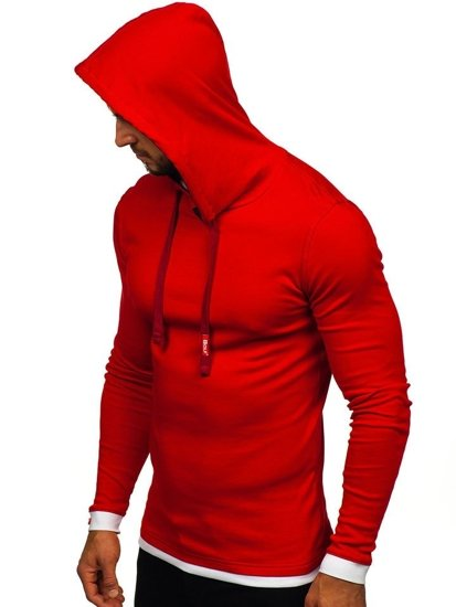 Červeno-bordová pánska mikina s kapucňou BOLF 03-3