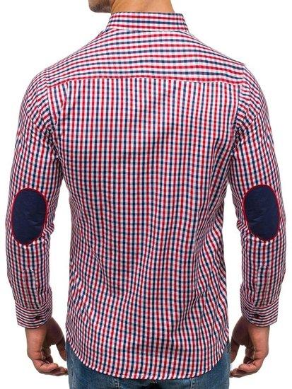 Červeno-tmavomodrá pánska kockovaná košeľa s dlhými rukávmi BOLF 1931