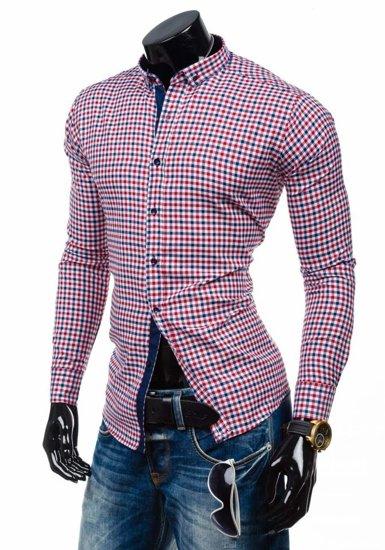 Červeno-tmavomodrá pánska kockovaná košeľa s dlhými rukávmi BOLF 2145