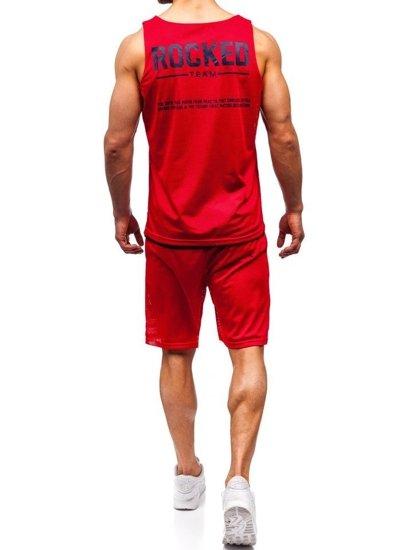 Červený pánsky komplet: tričko + kraťasy  BOLF 100780