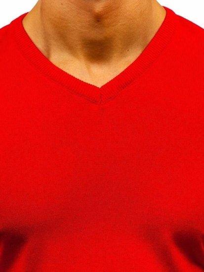 Červený pánsky sveter s výstrihom do V Bolf2200