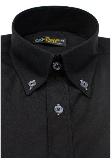 Cierna pánska elegantná košeľa s krátkymi rukávmi Bolf 5535