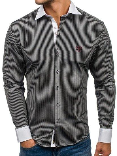 Čierna pánska elegantná pruhovaná košeľa s dlhými rukávmi BOLF 4784