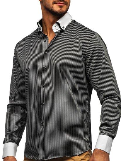 Čierna pánska elegantná prúžkovaná košeľa s dlhými rukávmi BOLF 0909-A