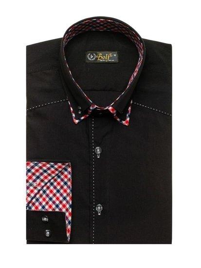 Čierna pánska košeľa s dlhými rukávmi BOLF 3707