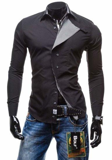Čierna pánska košeľa s dlhými rukávmi BOLF 5746