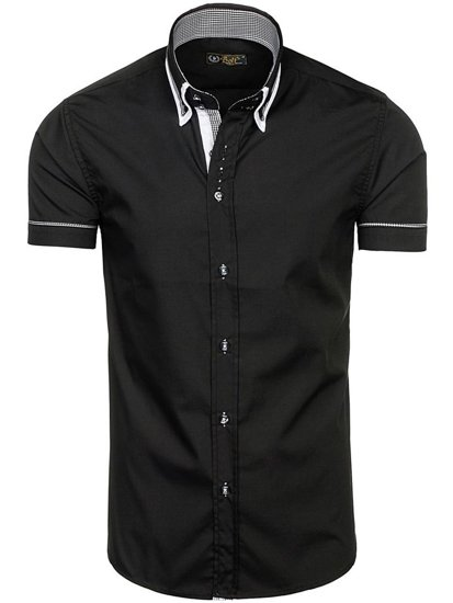 Čierna pánska košeľa s krátkymi rukávmi BOLF 3520