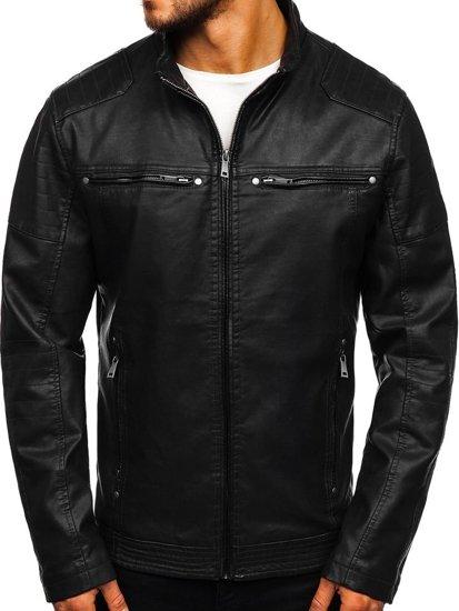 Čierna pánska koženková bunda Bolf 1113
