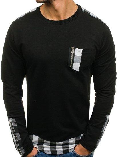 Čierna pánska mikina bez kapucne BOLF 0758