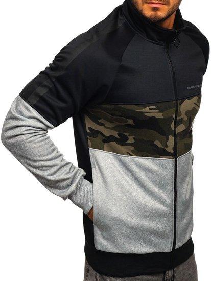 Čierna pánska mikina na zips bez kapucne Bolf 88015